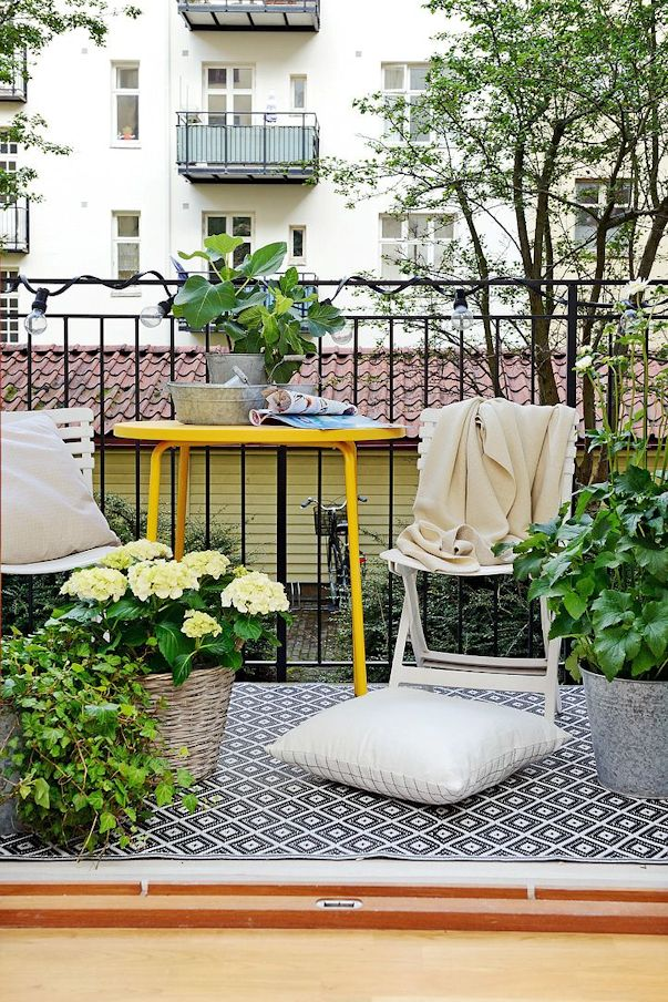 Decoración balcón pequeño monoambiente
