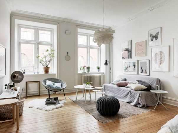 Interiores de un monoambiente nórdico con mucho estilo 3