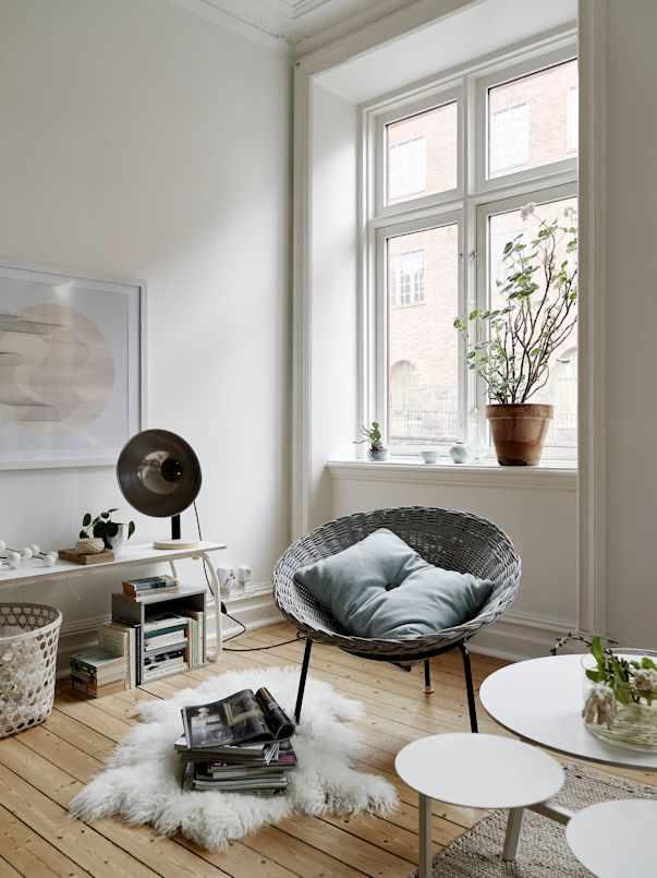 Interiores de un monoambiente nórdico con mucho estilo 6