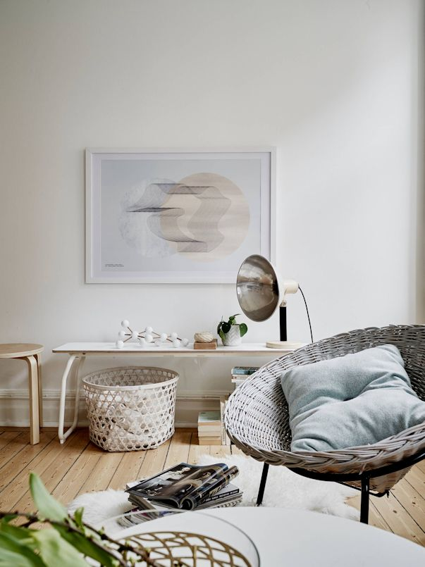 Interiores de un monoambiente nórdico con mucho estilo 7