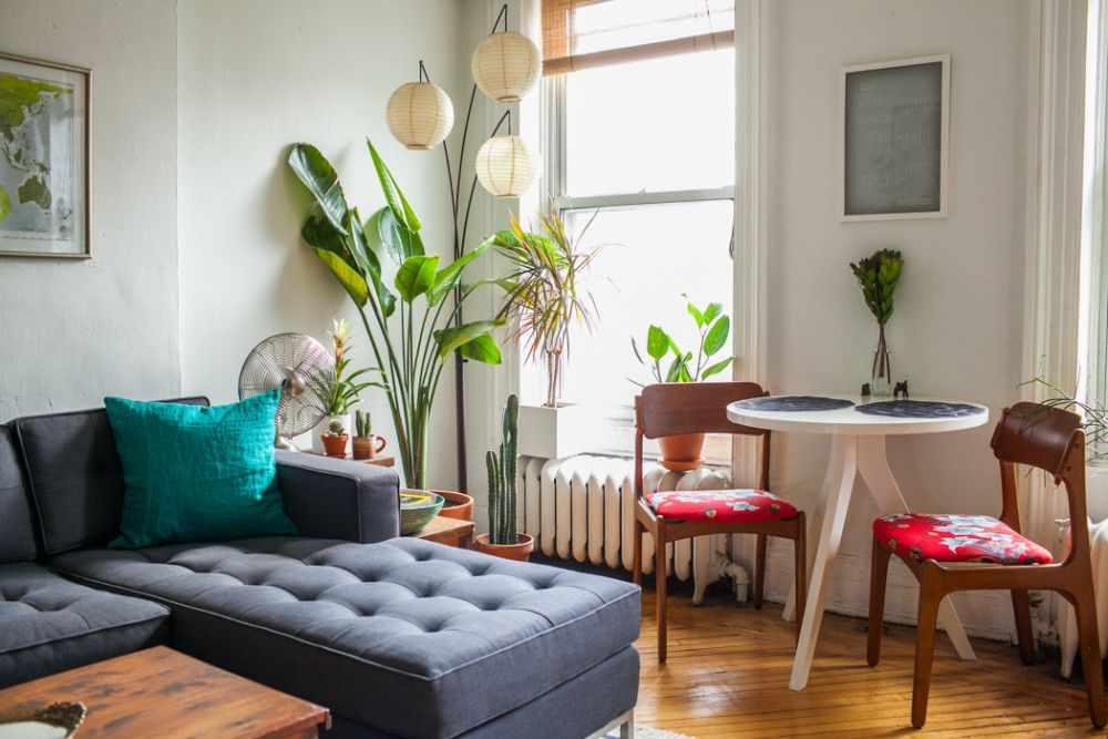 Departamento de 2 ambientes y medio en estilo vintage for Departamentos decorados con plantas
