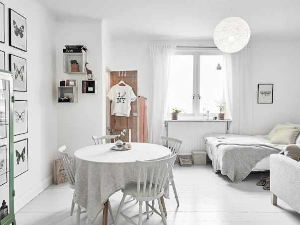 Decoración: Monoambiente escandinavo con interiores en blanco 1