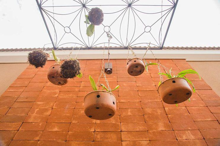 Una reja instalada de forma horizontal permite colgar plantas en macetas y orquídeas.