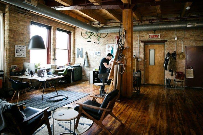 Loft estilo industrial y vintage con ideas para dividir - Salon estilo industrial ...