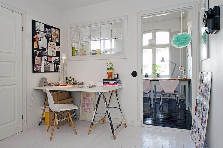 Espacios de trabajo en casa armados con caballetes 9