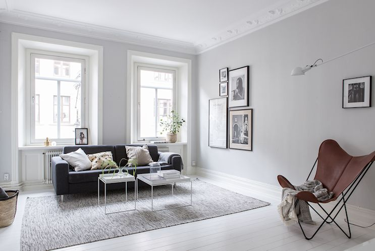 Interiores nórdicos en gris en un departamento de 2 ambientes 3