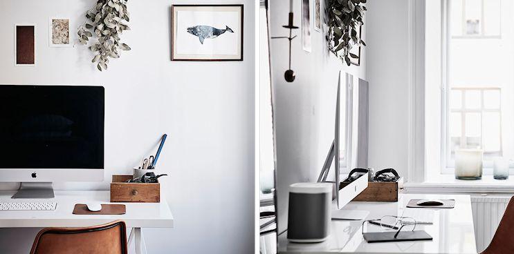 Detalle de la decoración del escritorio