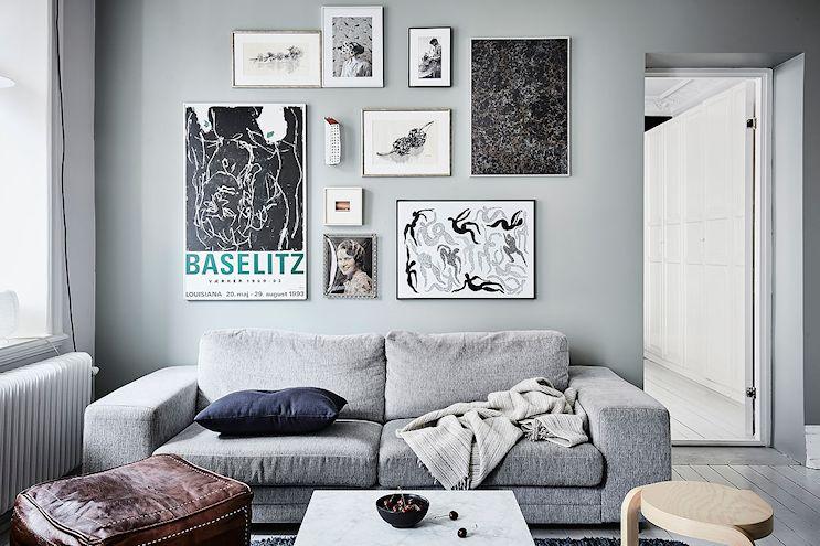 Living con decoración masculina en gris 1