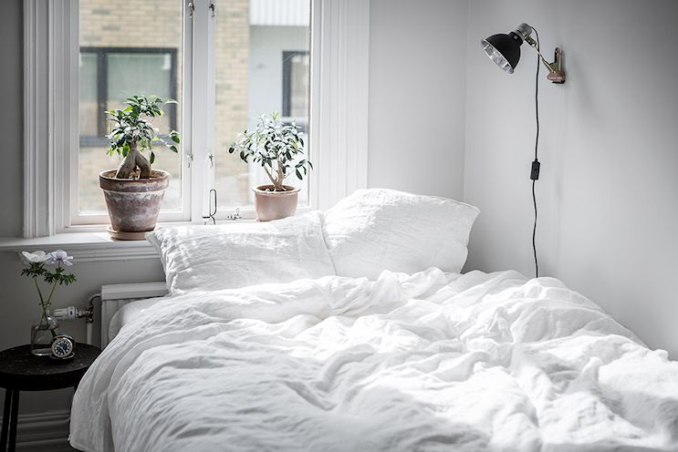 La cama en un rincón junto a la ventana configuran el dormitorio del monoambiente