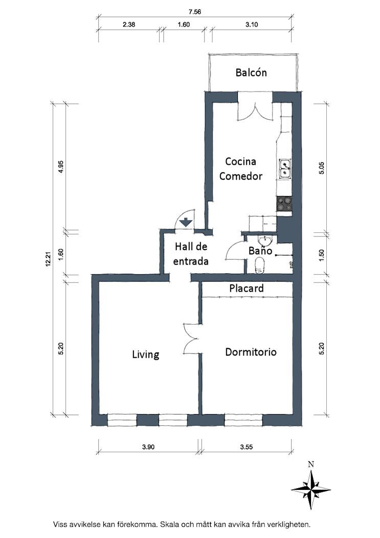 Plano departamento 2 ambientes y 61 metros cuadrados