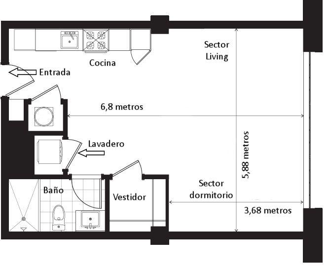 Plano del monoambiente de 53 metros cuadrados