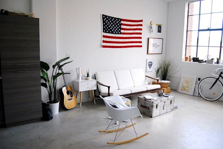 Monoambiente en estilo industrial moderno con decoración masculina 3