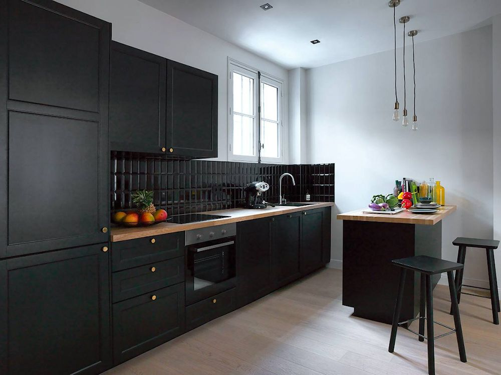 White Cupboards With Black Countertops