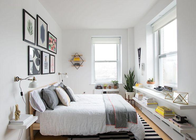 Diseño minimalista en un monoambiente pequeño