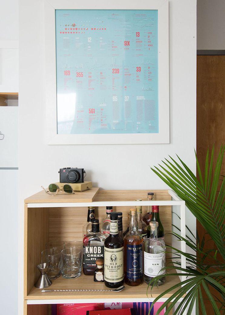 Mueble de Ikea convertido en bar, una solución que permite almacenar elementos de uso cotidiano e incorporarlos a la decoración
