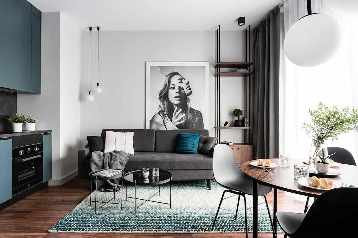 Departamento moderno y masculino de 38 metros estilos deco for Diseno de apartamento de soltero