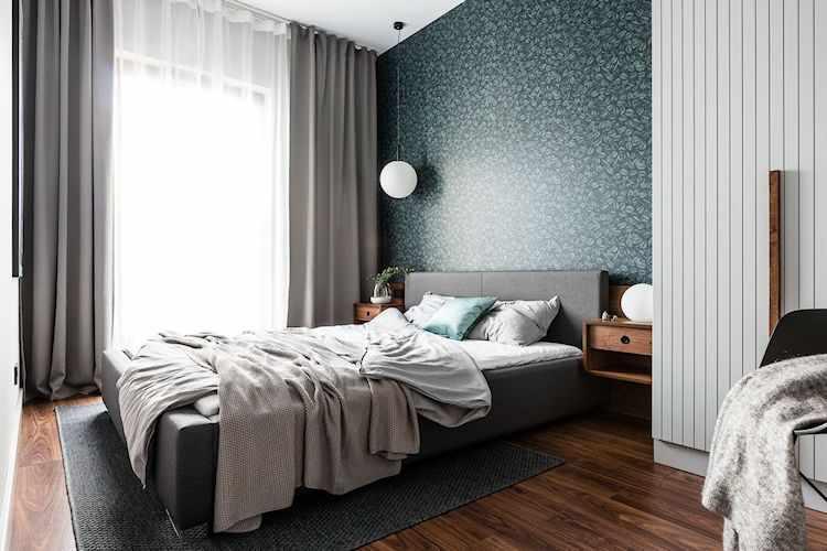 Dormitorio colorido pero sobrio y elegante a la vez