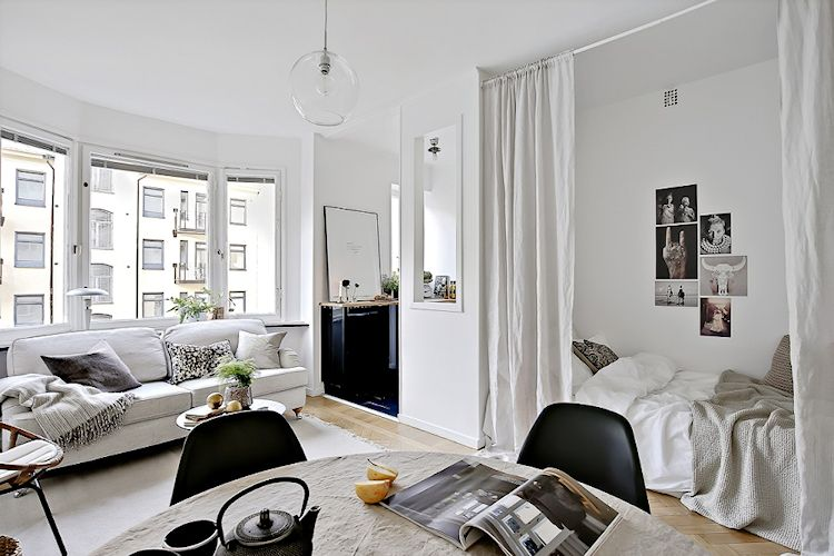 Dividir monoambientes con cortinas