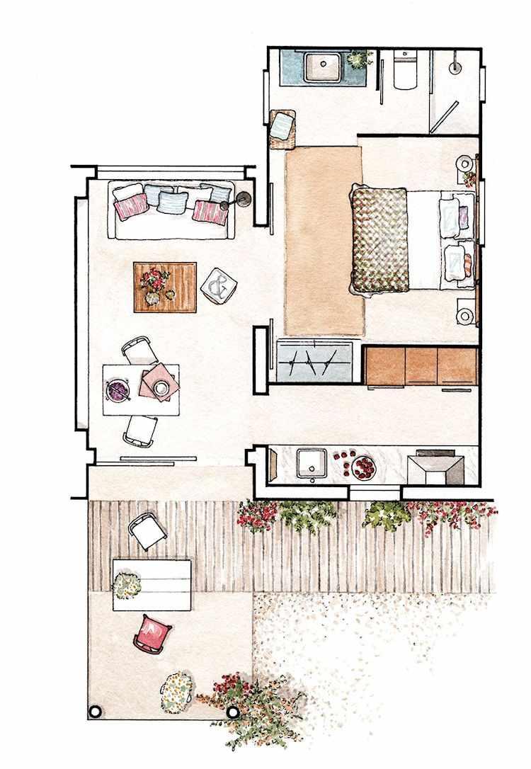 Plano del departamento de 2 ambientes