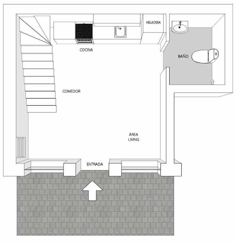Plano de la planta baja del dúplex