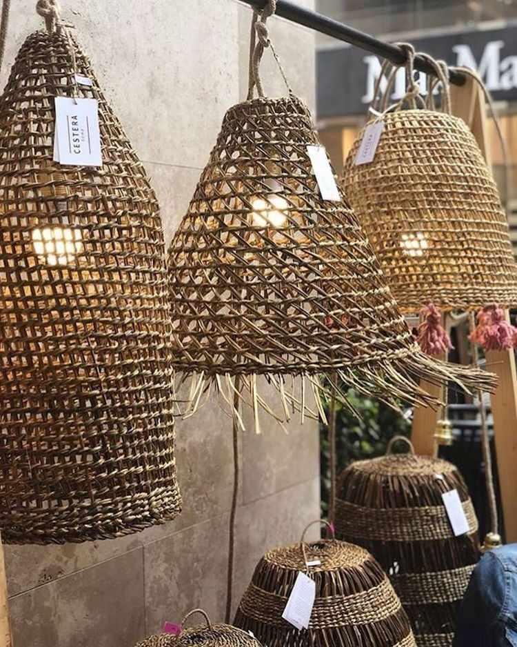 Cestera Home: lámparas tejidas a mano de  junquillo y manila 2