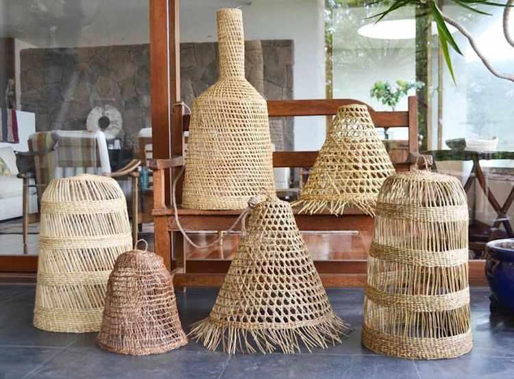 Cestera Home: lámparas tejidas a mano de  junquillo y manila 4
