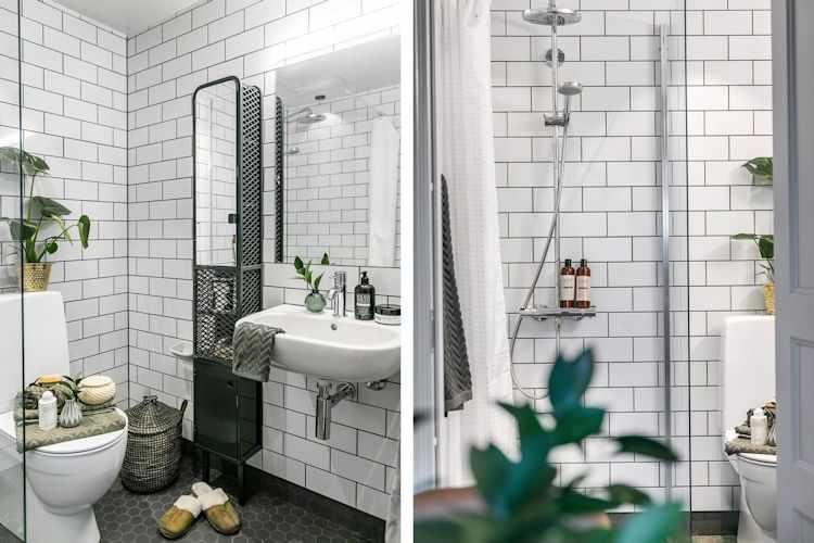 Baño clásico / moderno en blanco y negro