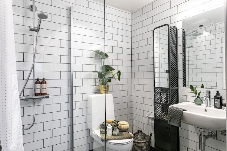 En lugar de una bañera, se instaló una ducha en el baño para ahorrar espacio