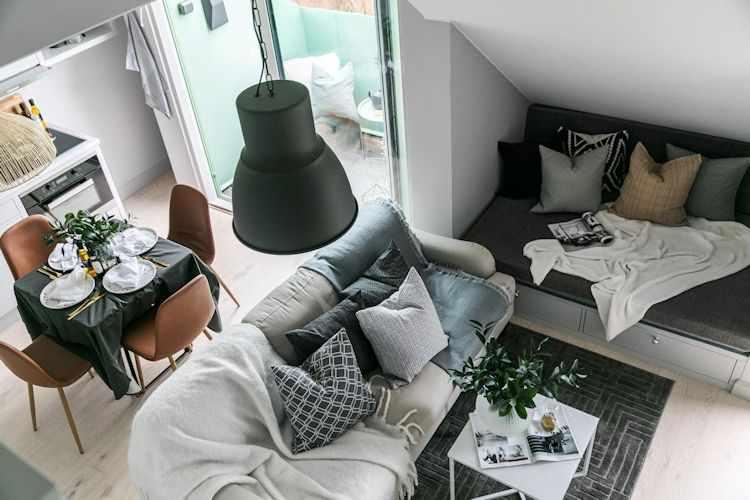 Departamento pequeño con altillo estilo nórdico