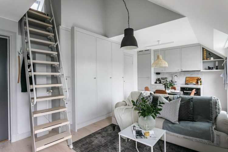 Departamento pequeño de 38 metros² con altillo para el dormitorio