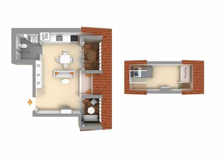 Plano del departamento con dormitorio en altillo