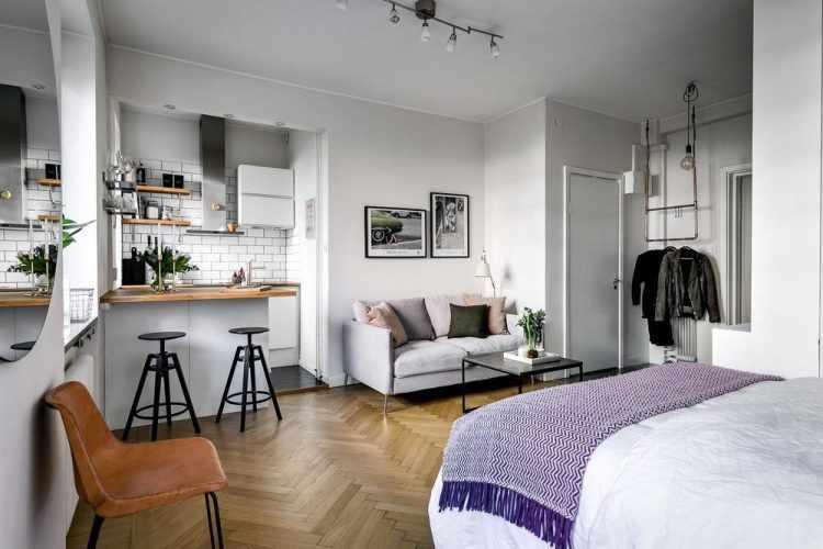 Decoración de interiores: Monoambiente minimalista de 27 metros²