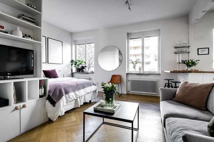 Monoambiente con forma de L invertida, con la cama en el área más espaciosa y el living en el pasillo angosto que conecta la entrada con la cocina / dormitorio