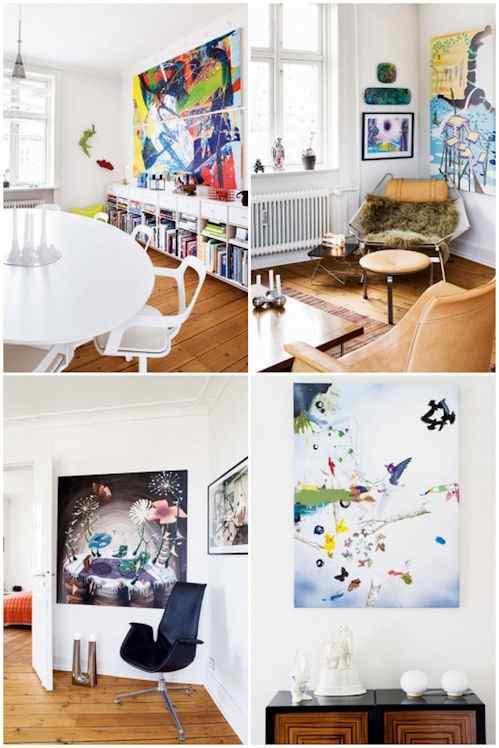 Hogar en Copenhague decorado con cuadros