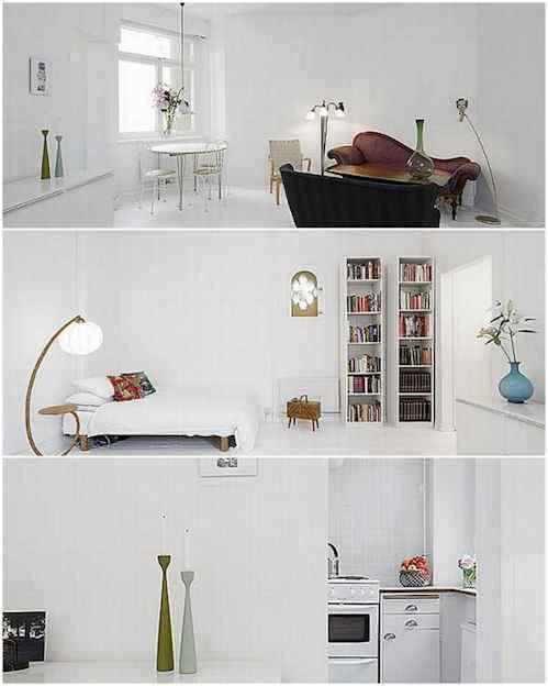 Departamento minimalista en blanco puro