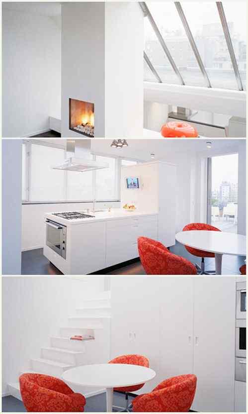Departamento de estilo minimalista con detalles en color rojo