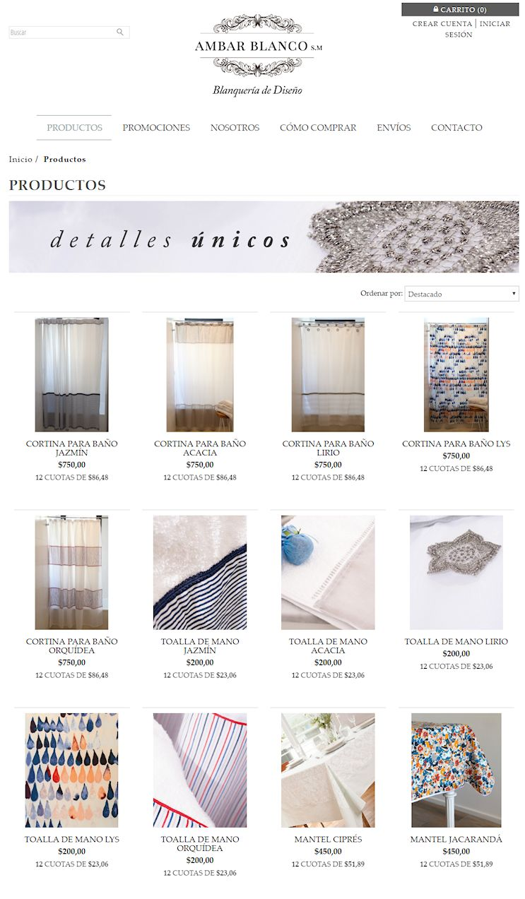 Tienda Online de Ambar Blanco Blanquería de Diseño